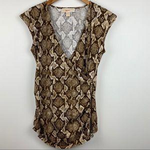 Michael Michael Kors Snake/Reptile Print Wrap Top